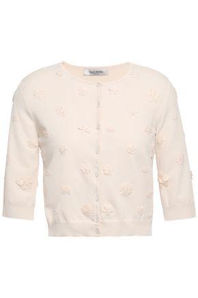 VALENTINO Cropped floral-appliquéd stretch-knit cardigan