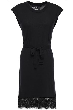 BOUTIQUE MOSCHINO Lace-trimmed wool and cotton-blend dress