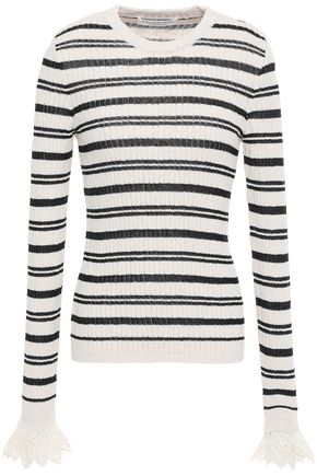 PHILOSOPHY di LORENZO SERAFINI Lace-trimmed striped ribbed cotton-blend sweater