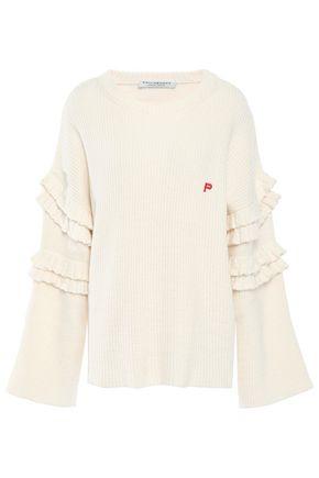 PHILOSOPHY di LORENZO SERAFINI Ruffle-trimmed ribbed cotton-blend sweater