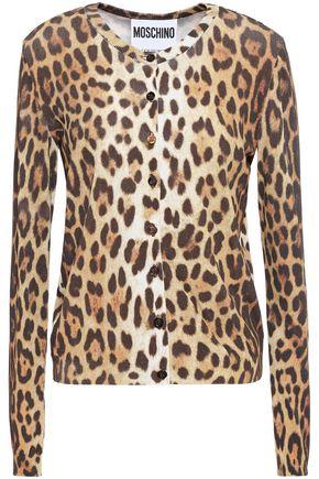 MOSCHINO Leopard-print stretch-knit cardigan