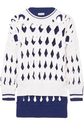 SONIA RYKIEL Oversized two-tone macramé wool-blend sweater