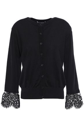 BOUTIQUE MOSCHINO Lace-trimmed linen and cotton-blend cardigan