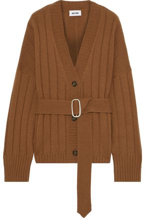 EACH X OTHER Belted ribbed merino wool and cashmere-blend cardigan