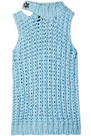CALVIN KLEIN 205W39NYC Cutout crystal-embellished open-knit top