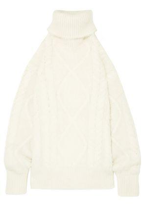 MAISON MARGIELA Oversized open-back cable-knit turtleneck sweater