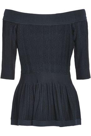 HERVÉ LÉGER Pointelle-trimmed stretch-knit top