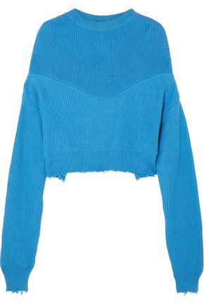 BEN TAVERNITI™ UNRAVEL PROJECT Distressed ribbed two-tone cotton and cashmere-blend sweater
