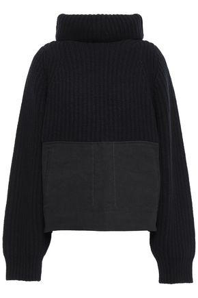 HAIDER ACKERMANN Canvas-paneled ribbed wool turtleneck sweater
