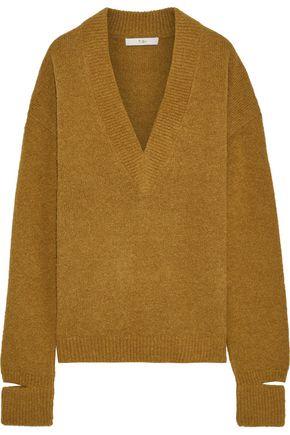 TIBI Oversized cutout ribbed alpaca-blend sweater