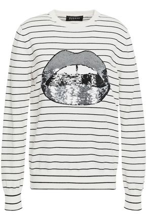 MARKUS LUPFER Mia sequined striped cotton sweater