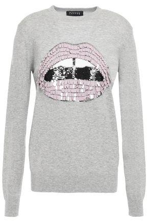 MARKUS LUPFER Tracy embellished mélange cotton sweater