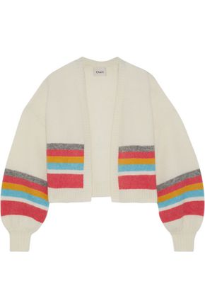 CHARLI Cropped striped brushed-knitted cardigan
