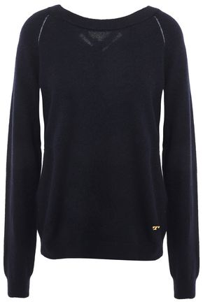 TORY BURCH Pointelle-trimmed bow-embellished knitted sweater
