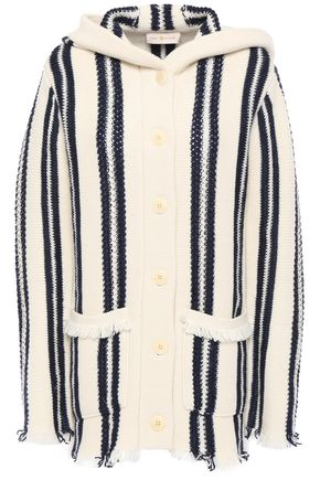 TORY BURCH Striped linen and wool-blend hooded cardigan