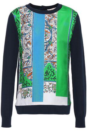TORY BURCH Silk twill-paneled printed cotton sweater