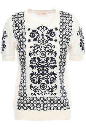 TORY BURCH Embroidered cotton top