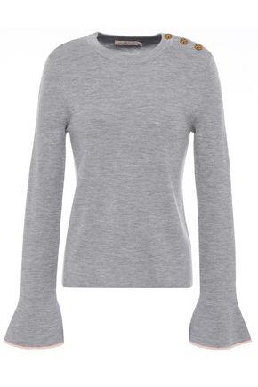 TORY BURCH Logo-embellished button-detailed mélange merino wool sweater