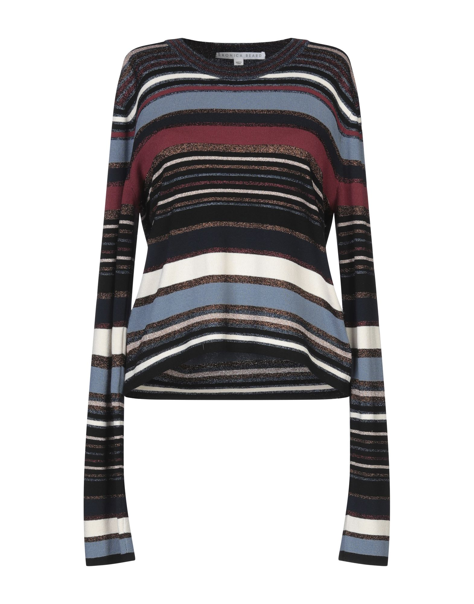 VERONICA BEARD Sweaters. knitted, lamé, no appliqués, stripes, round collar, lightweight sweater, long sleeves, no pockets. 65% Viscose, 15% Nylon, 13% Metallic fiber, 7% Polyester