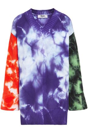 MSGM Tie-dyed ribbed cotton sweater