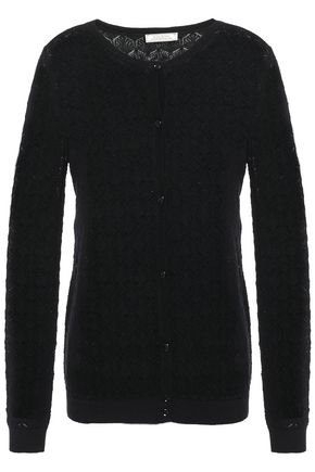 NINA RICCI Pointelle-knit wool and cashmere-blend cardigan