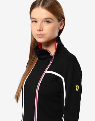 Scuderia Ferrari Online Store - Women's zippered sweatshirt in Milano rib - Zip Sweaters