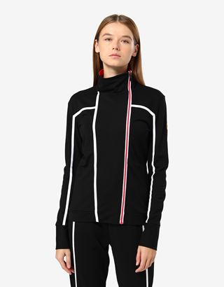 Scuderia Ferrari Online Store - Women's sweatshirt in Milano rib with zip - Zip Jumpers