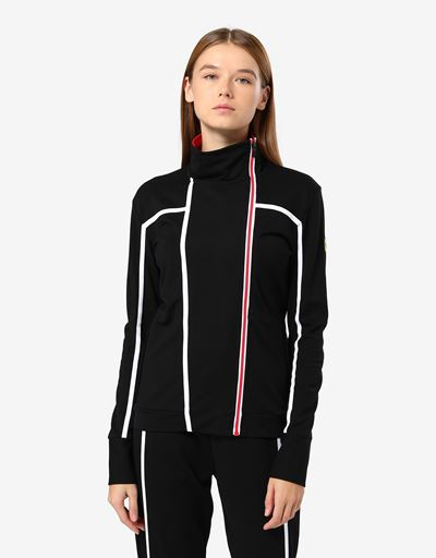 Sweat-shirt zippé au point de Milan pour femme