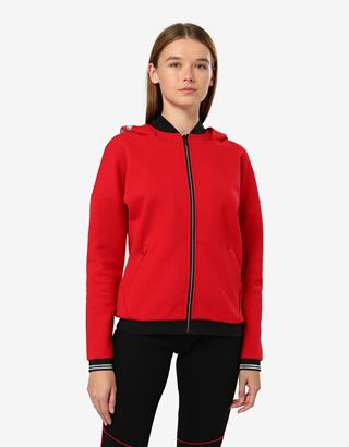 Scuderia Ferrari Online Store - Women's double knit sweatshirt with laurel embroidery - Zip Hood Sweaters