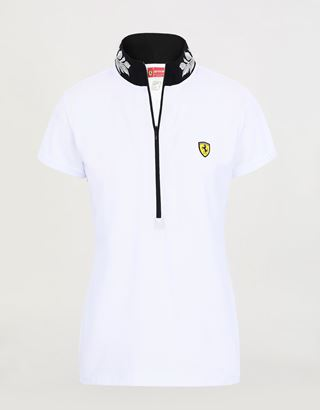 Scuderia Ferrari Online Store - Women's polo shirt in technical pique with zipper and laurel embroidery - Short Sleeve Polos