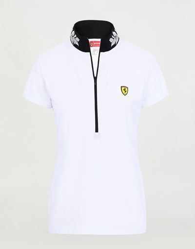 Women's polo shirt in technical piqué with zip and laurel embroidery