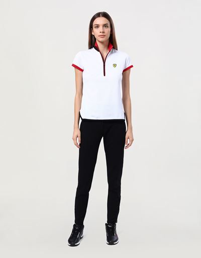 Women's pique polo shirt with mandarin collar