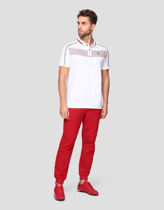 Scuderia Ferrari Online Store - Men's polo shirt in cotton pique with contrasting inserts - Short Sleeve Polos