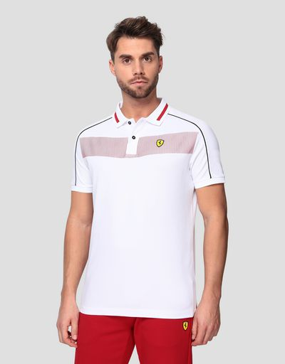 Men's cotton piqué polo shirt with contrasting inserts