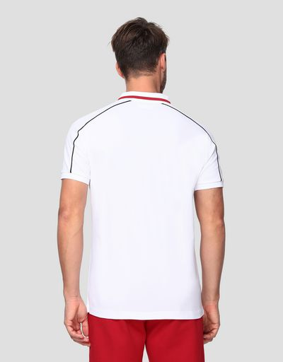 Men's polo shirt in cotton pique with contrasting inserts