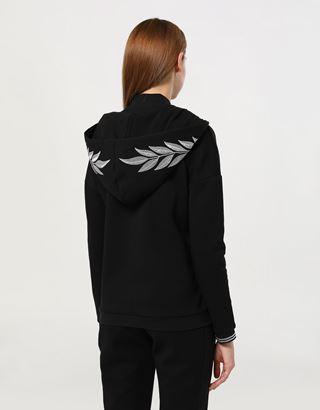 Scuderia Ferrari Online Store - Women's double knit sweatshirt with laurel embroidery - Zip Hood Sweaters