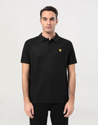 Scuderia Ferrari Online Store - Men's polo shirt in technical piqué with ergonomic cuts - Short Sleeve Polos