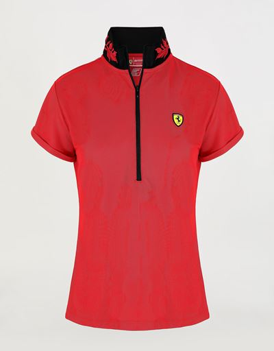 Women's polo shirt in technical pique with zipper and laurel embroidery