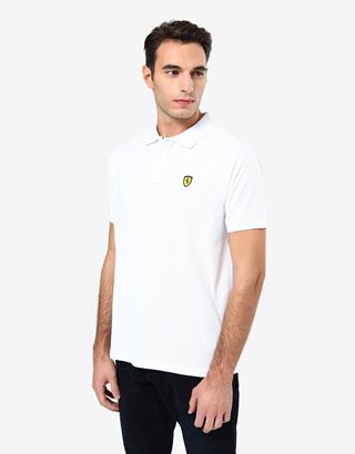Scuderia Ferrari Online Store - Men's polo shirt in technical pique with ergonomic seams - Short Sleeve Polos