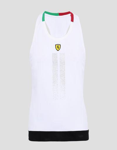 Scuderia Ferrari Online Store - Women's jersey vest with rhinestones - Tank Tops
