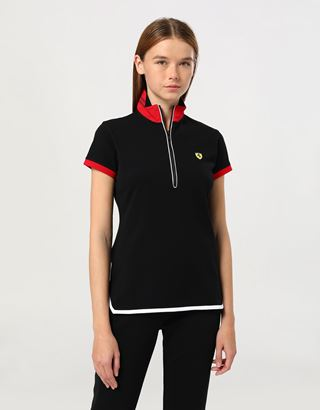 Scuderia Ferrari Online Store - Women's pique polo shirt with mandarin collar - Short Sleeve Polos