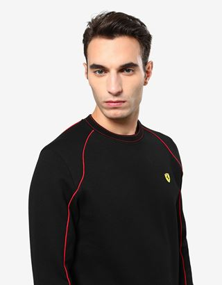 Scuderia Ferrari Online Store - Men's double knit sweatshirt with piping - Crew Neck Jumpers