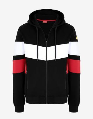 Scuderia Ferrari Online Store - Men's sweatshirt with contrasting inserts - Zip Hood Jumpers