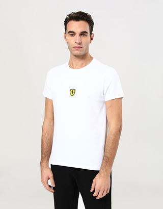 Scuderia Ferrari Online Store - Men's cotton T-shirt with Ferrari Shield print - Short Sleeve T-Shirts