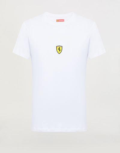 T-shirt uomo in cotone con stampa Scudetto Ferrari
