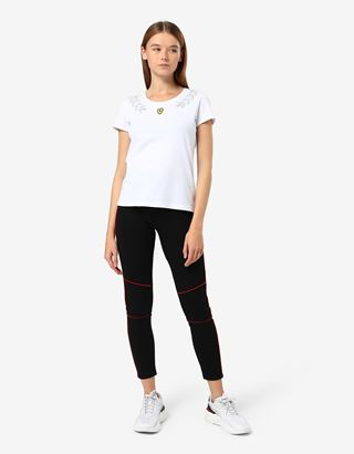 Scuderia Ferrari Online Store - Women's jersey T-shirt with laurel print - Short Sleeve T-Shirts