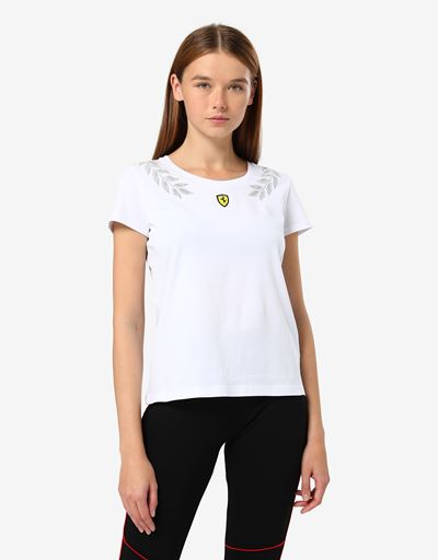 Women's jersey T-shirt with laurel print