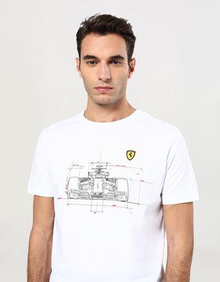 Scuderia Ferrari Online Store - メンズ コットンTシャツ テクニカルカープリント - 半袖Tシャツ