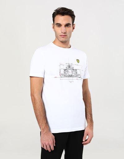 Scuderia Ferrari Online Store - Мужская хлопковая футболка с принтом чертежа автомобиля - Футболки с короткими рукавами
