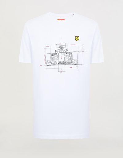 Camiseta de hombre de algodón con estampado técnico de coche